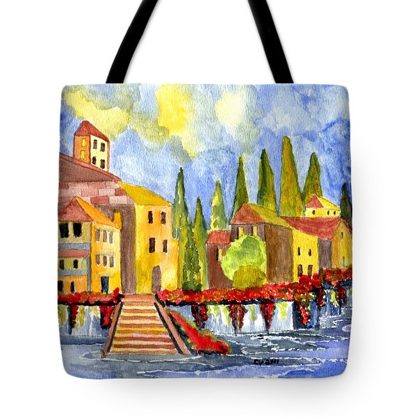 The little Village Tote Bag by Connie Valasco