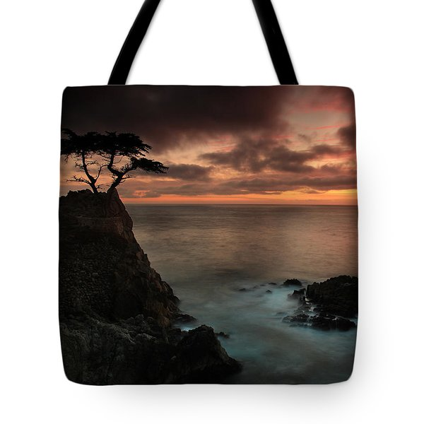 The Lone Cypress Observes A Pebble Beach Sunset Tote Bag by Dave Storym