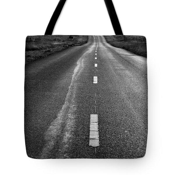 The Long Road Home . 7D9898 . Black and White Tote Bag by Wingsdomain Art and Photography