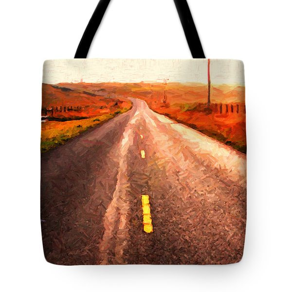 The Long Road Home . Painterly Style . Wide Size Tote Bag by Wingsdomain Art and Photography