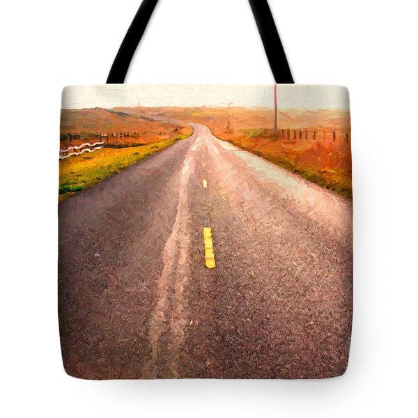 The Long Road Home . Painterly Style Tote Bag by Wingsdomain Art and Photography