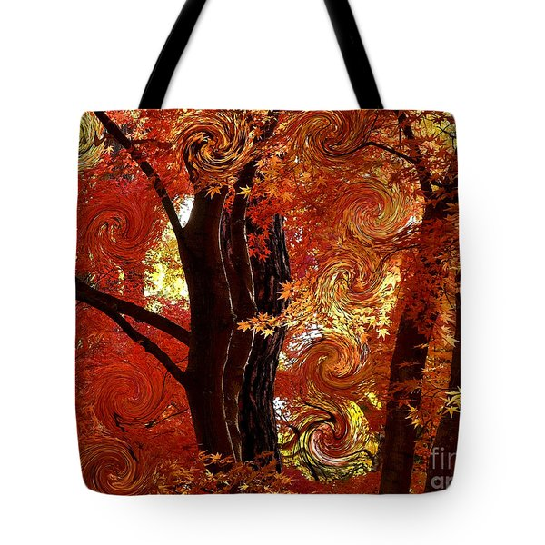 The Magic of Autumn - Digital Abstract Tote Bag by Carol Groenen