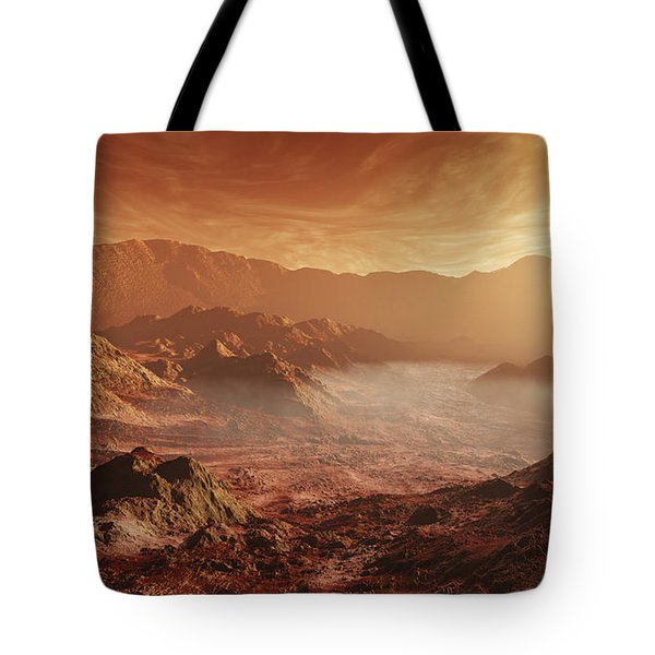 The Martian Sun Sets Over The High Tote Bag by Steven Hobbs