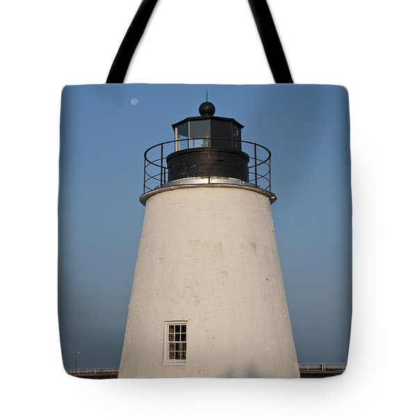 The Moon Behind The Piney Point Lighthouse Tote Bag by Bill Cannon
