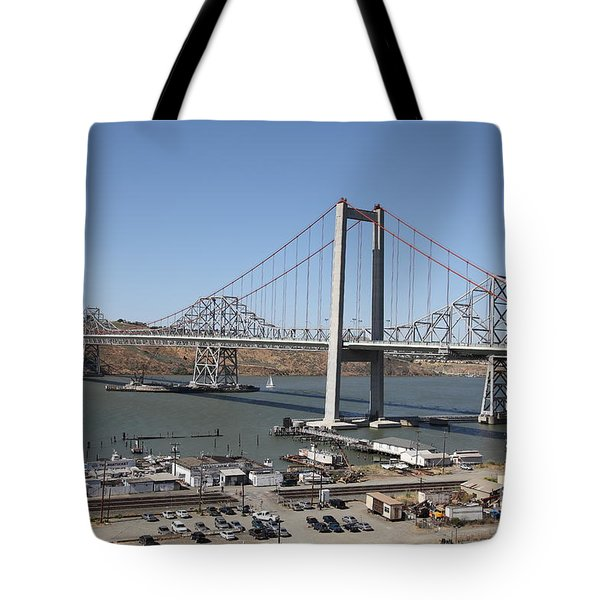 The New Alfred Zampa Memorial Bridge And The Old Carquinez Bridge . 5d16798 Tote Bag by Wingsdomain Art and Photography