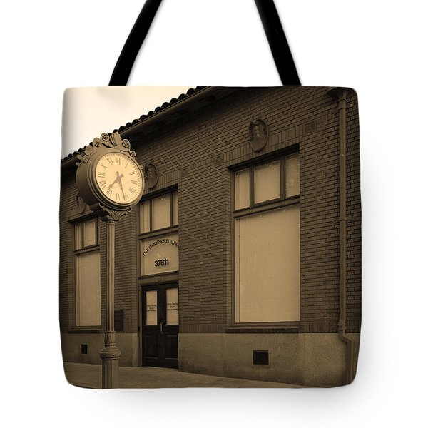 The Old Banker's Building - 5d18429 - Sepia Tote Bag by Wingsdomain Art and Photography