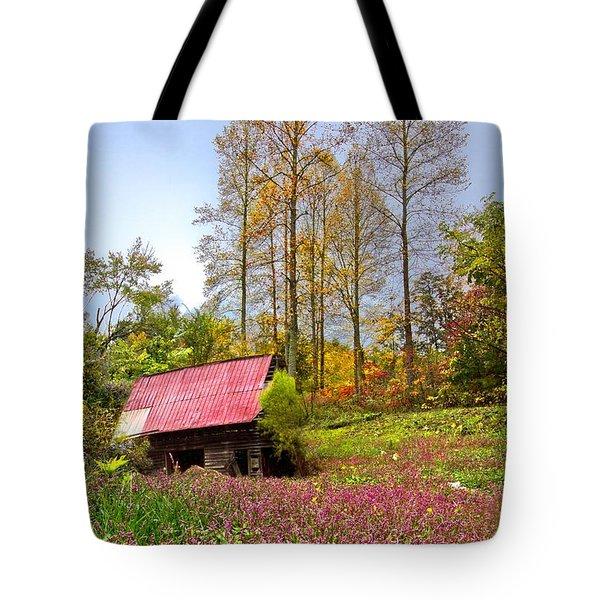 The Old Barn At Grandpas Farm Tote Bag by Debra and Dave Vanderlaan