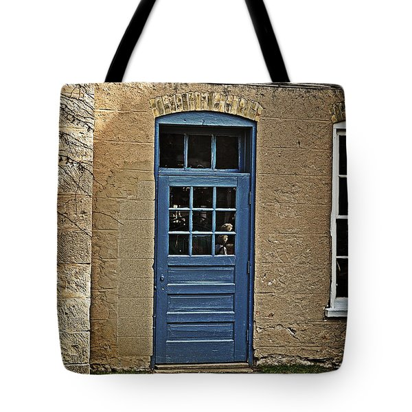 The Old Blue Door Tote Bag by Mary Machare