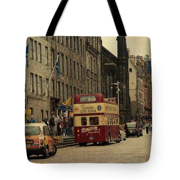 The Princes Street In Edinburgh. Scotland Tote Bag by Jenny Rainbow