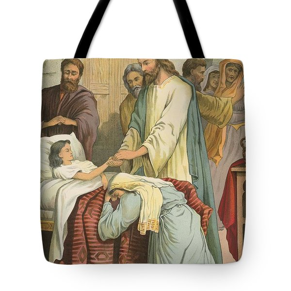 The Raising Of Jairus' Daughter Tote Bag by English School