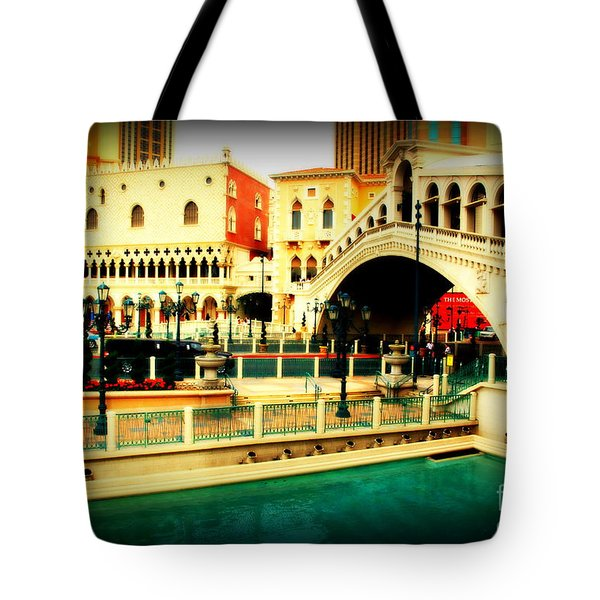 The Rialto Bridge Of Venice In Las Vegas Tote Bag by Susanne Van Hulst