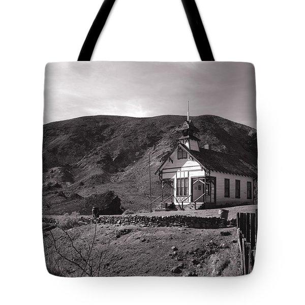 The Schoolhouse in Calico Ghost Town California Tote Bag by Susanne Van Hulst