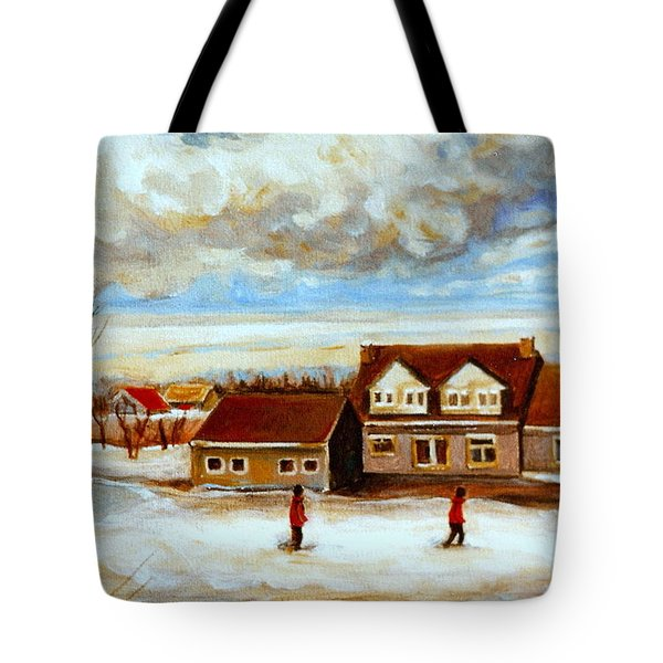 The Schoolhouse Winter Morning Quebec Rural Landscape Tote Bag by Carole Spandau