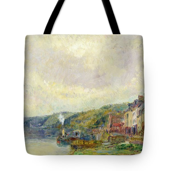 The Seine At Croisset Tote Bag by Albert Charles Lebourg