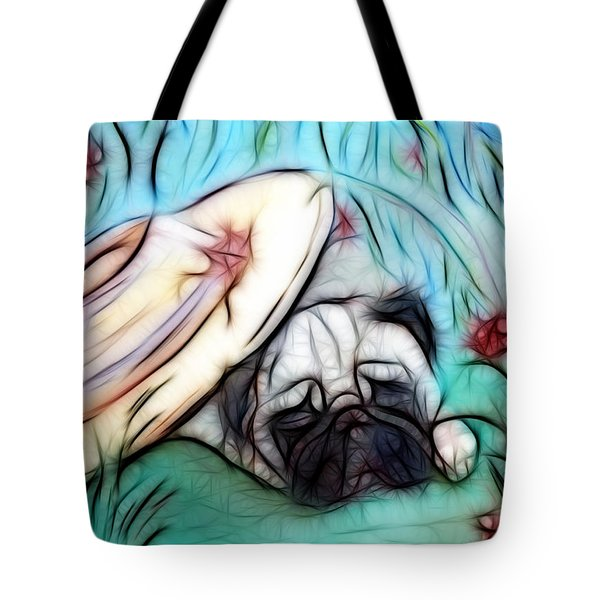 The Sleepy Garden Pug 2 Tote Bag by Lisa Stanley