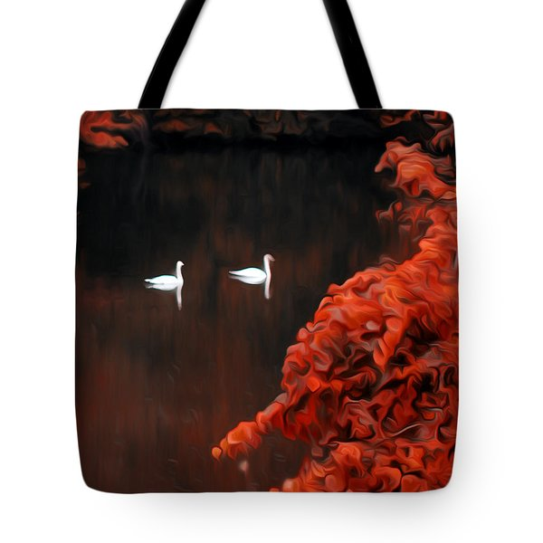 The Swan Pair Tote Bag by Bill Cannon