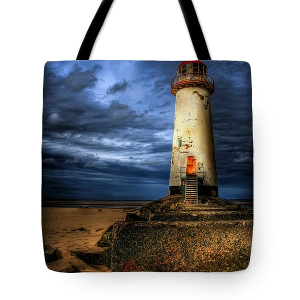 The Talacre Lighthouse Tote Bag by Adrian Evans