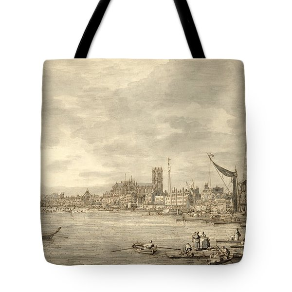 The Thames Looking Towards Westminster From Near York Water Gate  Tote Bag by Giovanni Antonio Canaletto