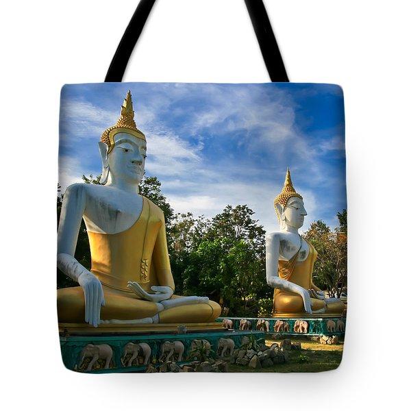 The Three Buddhas  Tote Bag by Adrian Evans