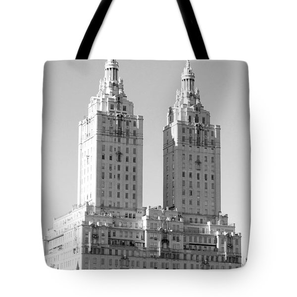The Towers In Black And White Tote Bag by Rob Hans