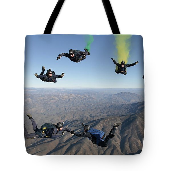 The U.s. Navy Parachute Demonstration Tote Bag by Stocktrek Images