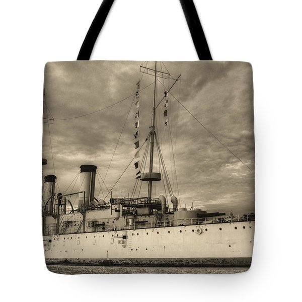 The USS Olympia Black and White Tote Bag by JC Findley