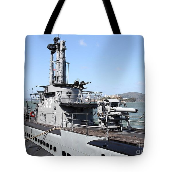The Uss Pampanito Submarine At Fishermans Wharf With Alcatraz In The Distance.san Francisco.7d14420 Tote Bag by Wingsdomain Art and Photography
