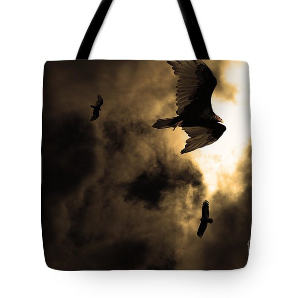 The Vultures Have Gathered In My Dreams . Version 2 . Golden Tote Bag by Wingsdomain Art and Photography