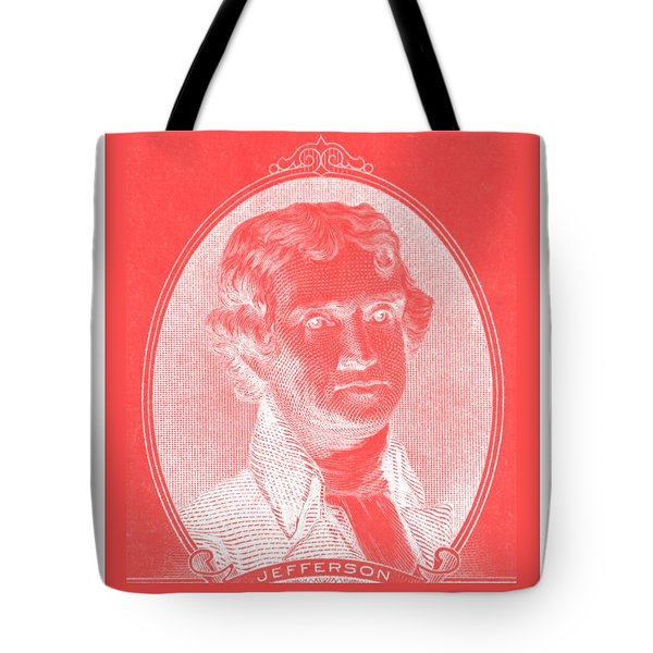 THOMAS JEFFERSON in NEGATIVE RED Tote Bag by ROB HANS