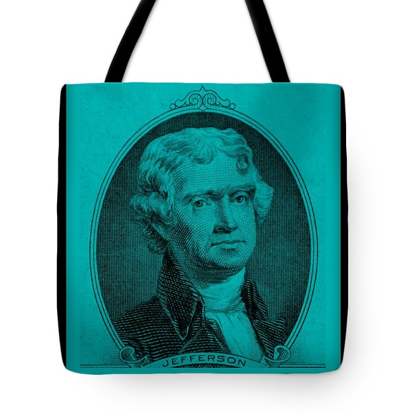 THOMAS JEFFERSON in TURQUOIS Tote Bag by ROB HANS