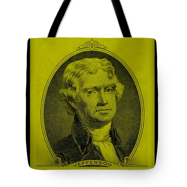 Thomas Jefferson In Yellow Tote Bag by Rob Hans