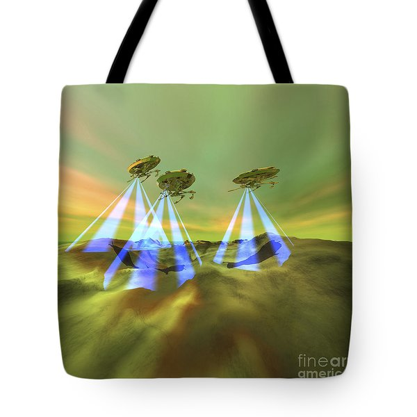 Three Alien Spaceships Steal Tote Bag by Corey Ford