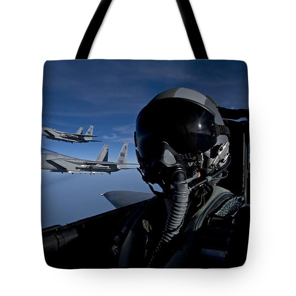 Three F-15 Eagles Fly High Tote Bag by HIGH-G Productions