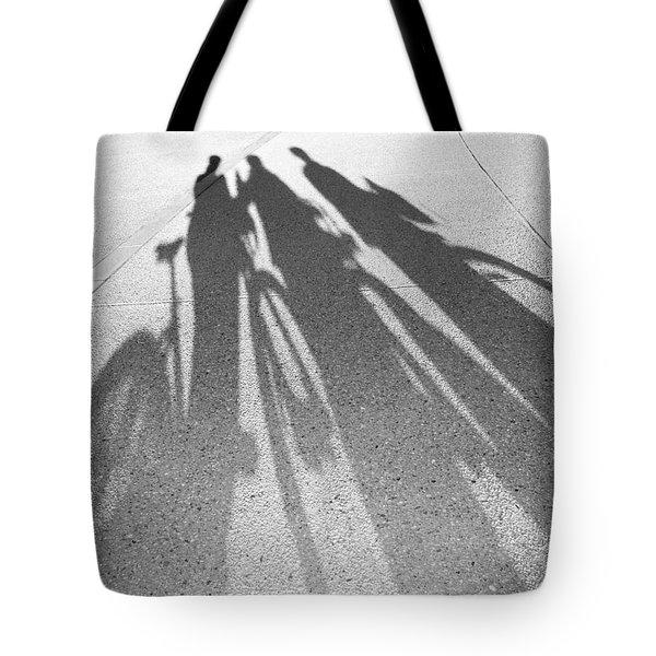 Three Friends On Bikes Tote Bag by Julie Niemela