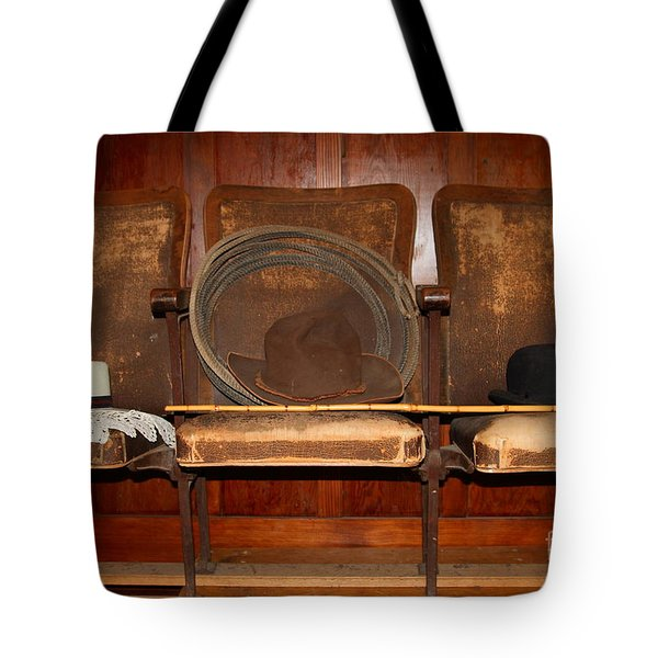 Three Hats A Lasso And A Cane At The Old Movie Theater . 7D12726 Tote Bag by Wingsdomain Art and Photography