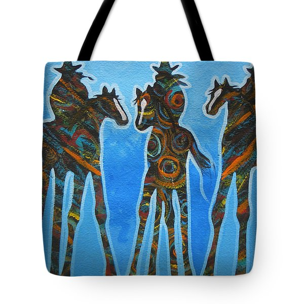 Three In The Blue Tote Bag by Lance Headlee