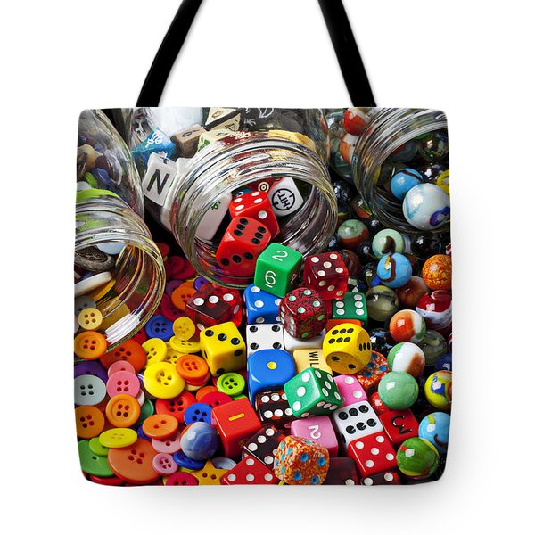 Three Jars Of Buttons Dice And Marbles Tote Bag by Garry Gay