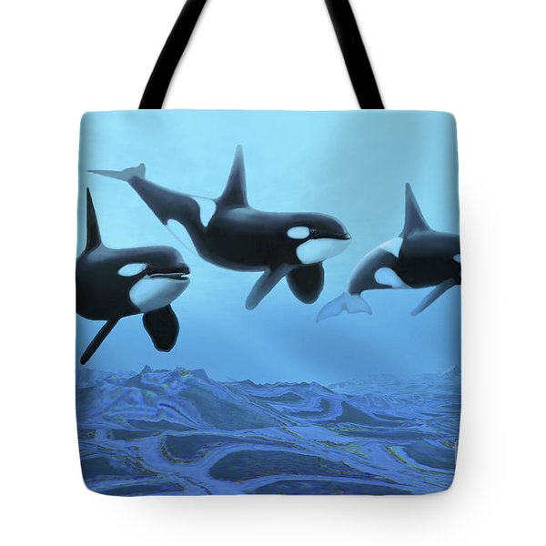 Three Male Killer Whales Swim Tote Bag by Corey Ford