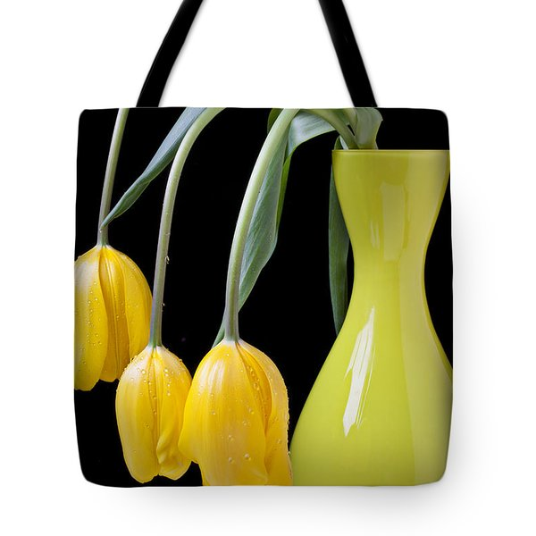 Three Yellow Tulips Tote Bag by Garry Gay
