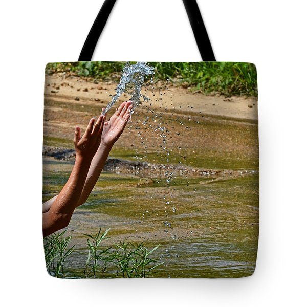Throwing Water I Tote Bag by Debbie Portwood