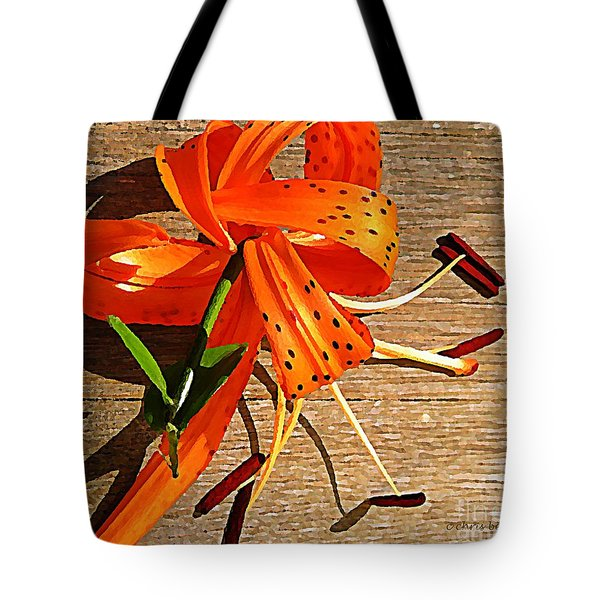 Tiger Lily with Watercolor  Tote Bag by Chris Berry
