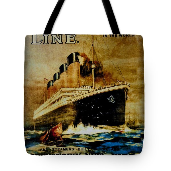 Titanic - White Star Line Tote Bag by Bill Cannon