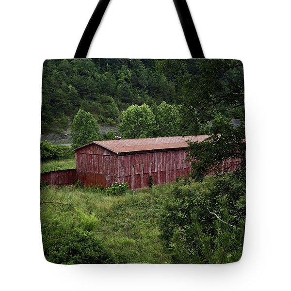 Tobacco Barn From Afar Tote Bag by Douglas Barnett