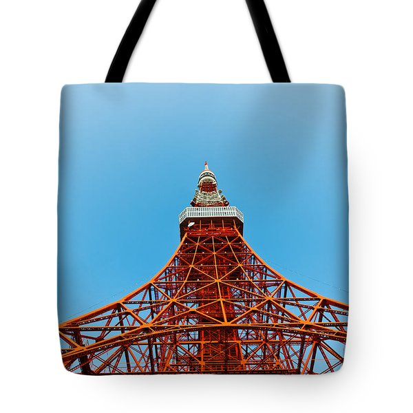 Tokyo Tower Faces Blue Sky Tote Bag by Ulrich Schade