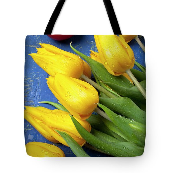 Tomato and tulips Tote Bag by Garry Gay