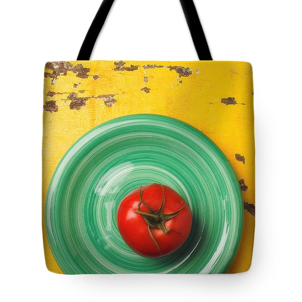 Tomato On Green Plate Tote Bag by Garry Gay