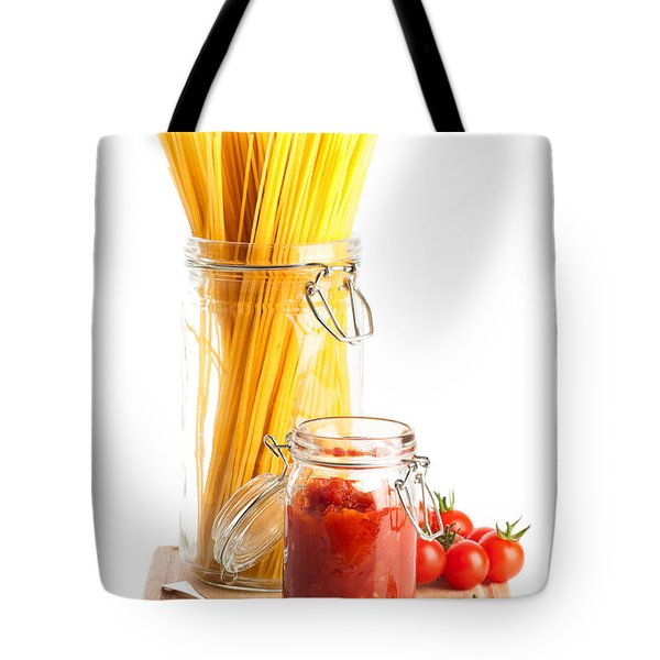 Tomatoes Sauce and  Spaghetti Pasta  Tote Bag by Amanda And Christopher Elwell