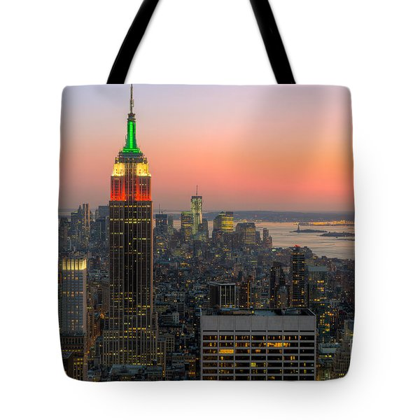 Top Of The Rock Twilight X Tote Bag by Clarence Holmes