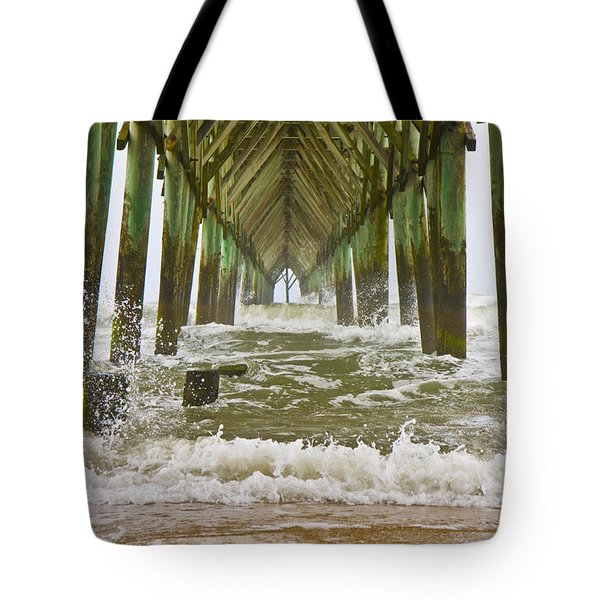Topsail Island Pier Tote Bag by Betsy A  Cutler