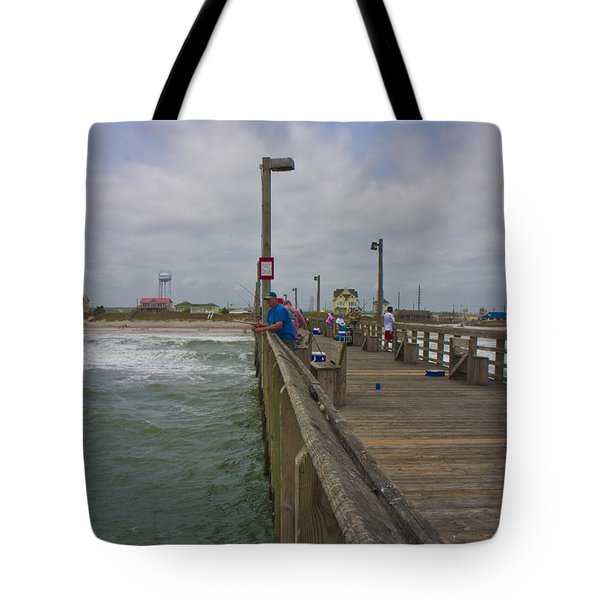 Topsail Island Sc Pier Tote Bag by Betsy C Knapp